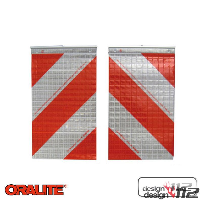 Warnmarkierung für Hubladebühnen 1 Set = 1x links 1x rechtsweisend rot//weiß u